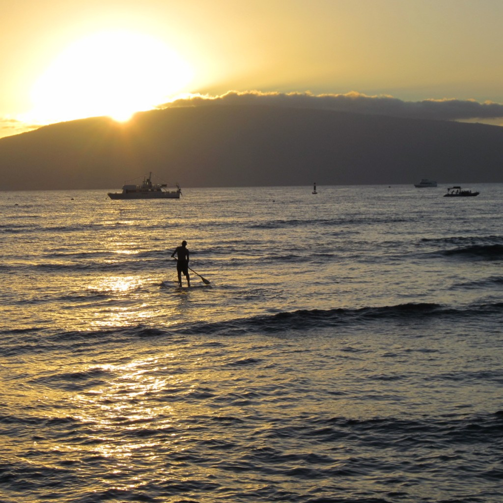 Stand Up Paddleboarder with the sunset, taken by the author last year in Maui.