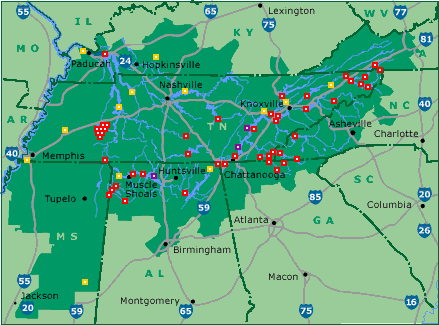 Red dots are the TVA dams (2005 map)