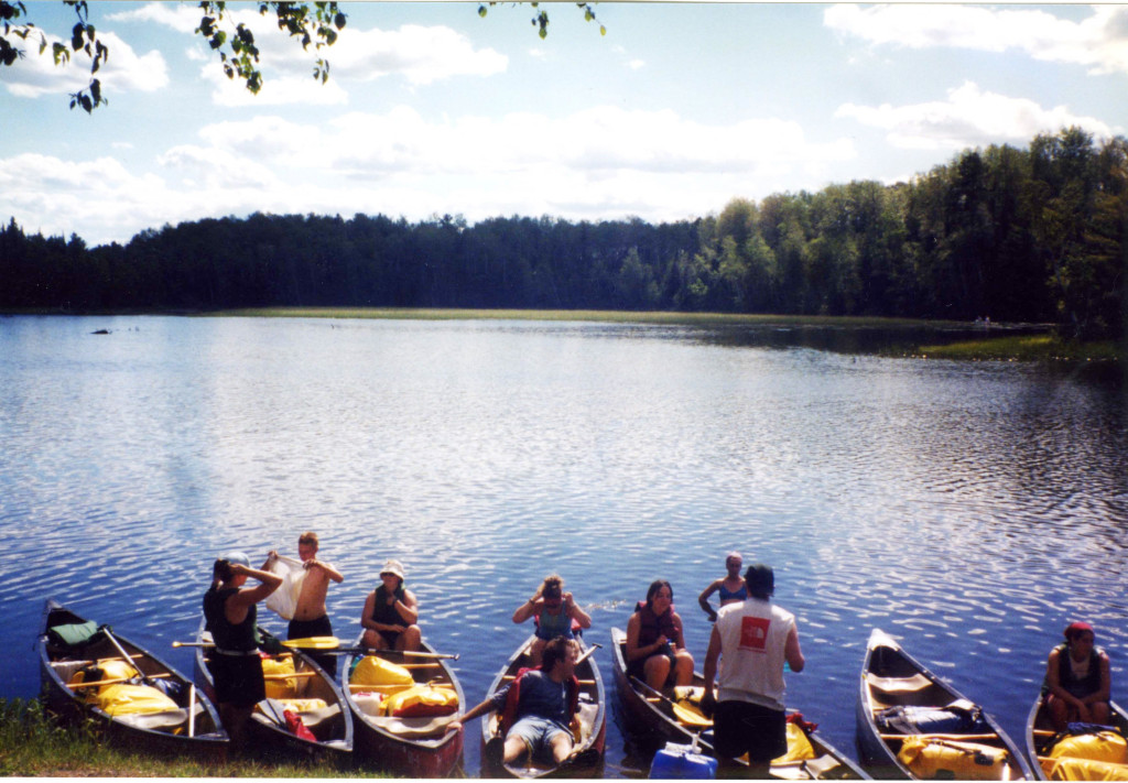 University students packed and ready to paddle on the Manitowish water trails