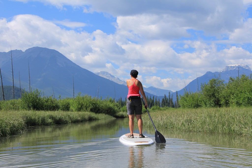 Learning to SUP on 40 Mile Creek, Banff National Park