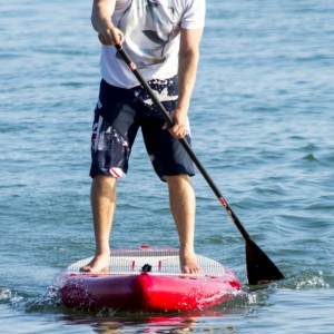 A beginner stand-up paddle board is wider than other boards for increased stability.